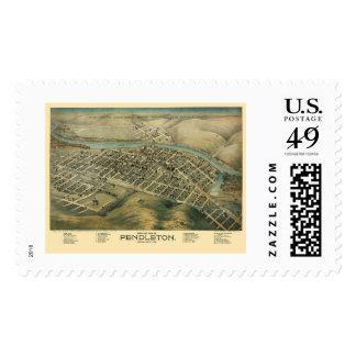 Pendleton, OR Panoramic Map - 1890's Stamp