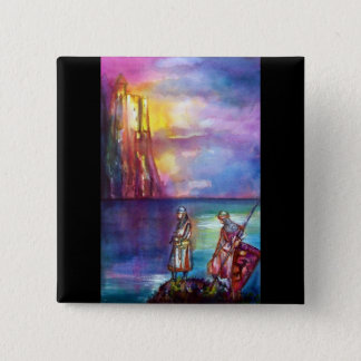 PENDRAGON Medieval Knights,Lake Sunset,Fantasy Pinback Button