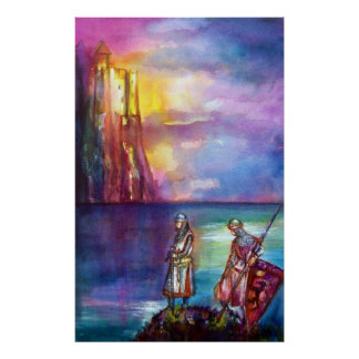 PENDRAGON Medieval Knights,Lake Sunset,Fantasy Poster