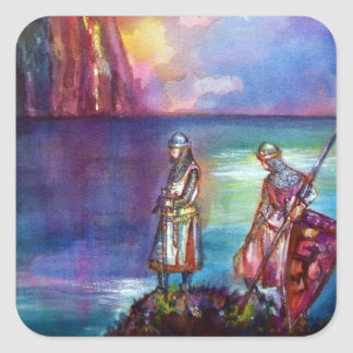PENDRAGON Medieval Knights,Lake Sunset,Fantasy Square Sticker