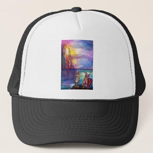 PENDRAGON Medieval Knights,Lake Sunset,Fantasy Trucker Hat