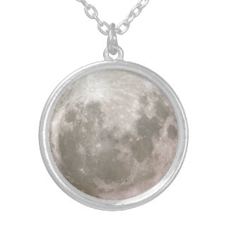 Péndulo de la luna collar plateado