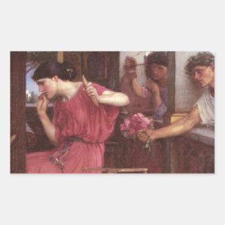Penelope And The Suitors - John William Waterhouse Rectangular Sticker