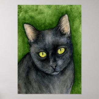 Penélope - la impresión afortunada del gato negro posters