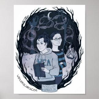"""Penelope & Ophelia"" Portrait Print- Winter Slides Poster"