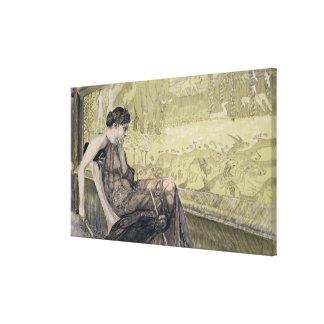 Penélope que teje una cubierta para Laertes su pad Lona Estirada Galerías