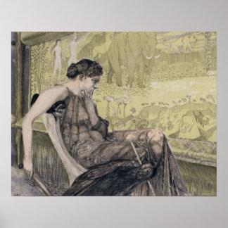 Penélope que teje una cubierta para Laertes su pad Poster