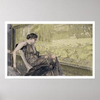 Penélope que teje una cubierta para Laertes su pad Posters