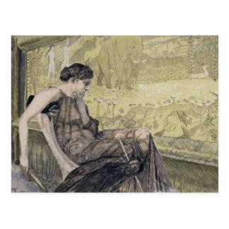 Penélope que teje una cubierta para Laertes su Postal