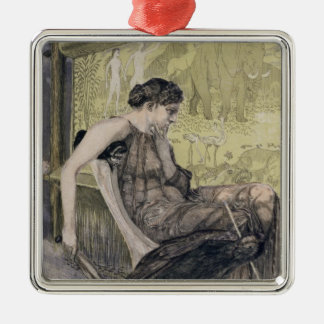 Penelope weaving a shroud for Laertes her father-i Christmas Tree Ornament