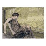 Penelope weaving a shroud for Laertes her father-i Postcard