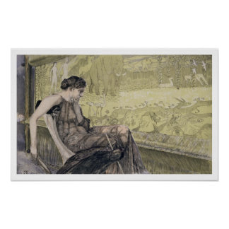 Penelope weaving a shroud for Laertes her father-i Print