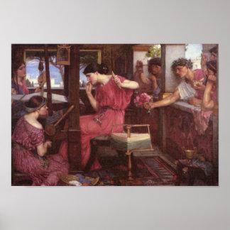 Penélope y los pretendientes - John William Waterh Póster