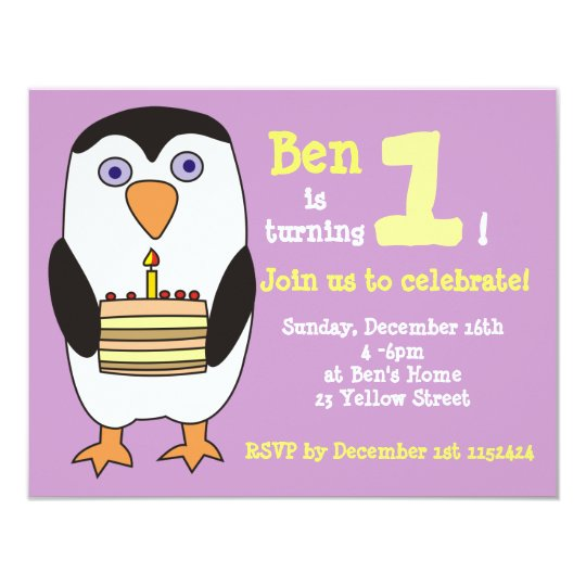 Penguin 1st Birthday Invitation, Birthday Party Card