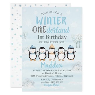 Penguin 1st Birthday Invitation Winter Onederland