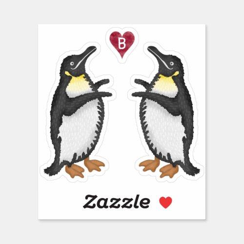 Penguin  2 Birds  Heart Monogram Cute Animal Sticker