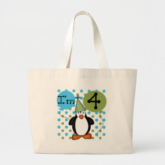 Penguin 4th Birthday Tshirts and Gifts Tote Bag