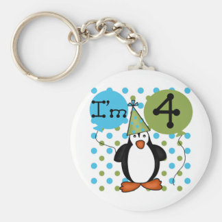 Penguin 4th Birthday Tshirts and Gifts Basic Round Button Keychain
