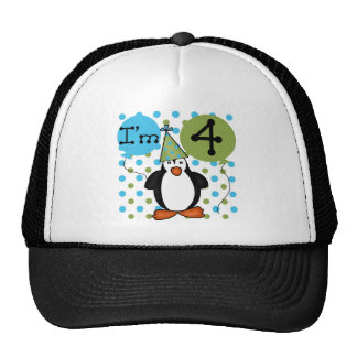 Penguin 4th Birthday Tshirts and Gifts Trucker Hat