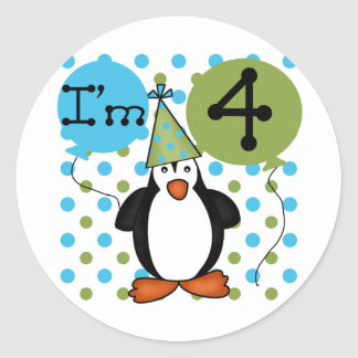 Penguin 4th Birthday Tshirts and Gifts Classic Round Sticker