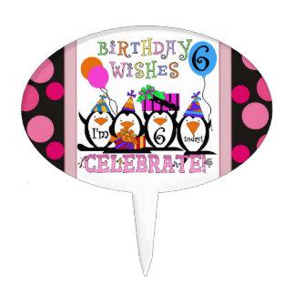 Penguin 6th Birthday Cake Topper