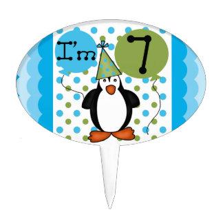 Penguin 7th Birthday Cake Topper