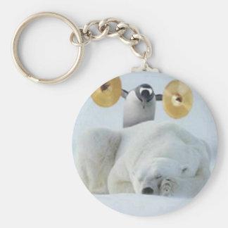 Penguin Alarm Basic Round Button Keychain