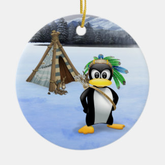 Penguin American Indian cartoon Ceramic Ornament