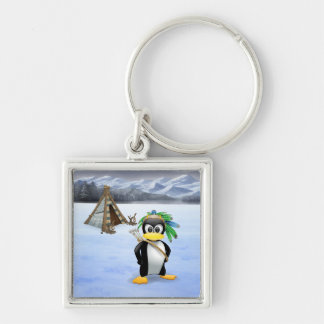 Penguin American Indian cartoon Keychain