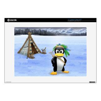 "Penguin American Indian cartoon Skin For 15"" Laptop"