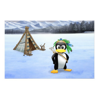 Penguin American Indian cartoon Stationery