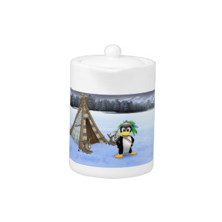 Penguin American Indian cartoon Teapot