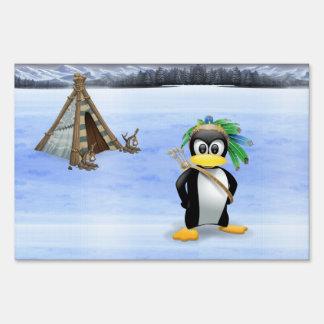Penguin American Indian cartoon Yard Sign