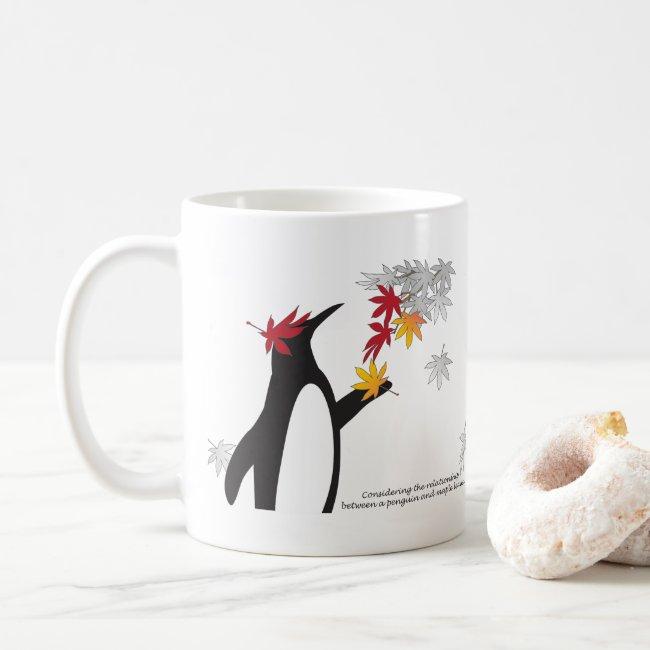 Penguin and Autumn Maple Leaves Cute Funny Custom