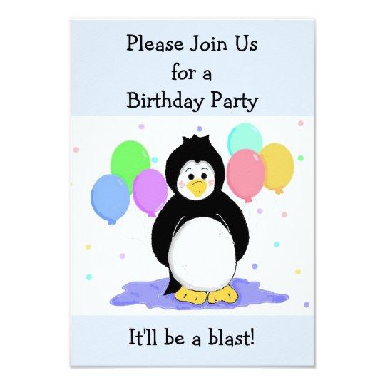 Penguin and Balloons Birthday Invitation