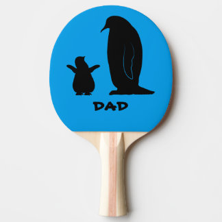 Penguin and Chick in Silhouette Name Customizable Ping-Pong Paddle