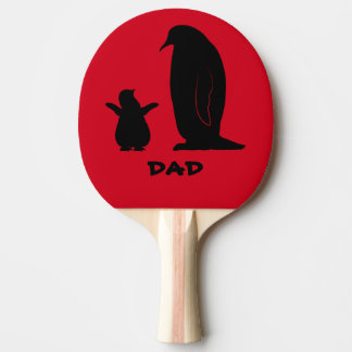 Penguin and Chick in Silhouette Ping-Pong Paddle