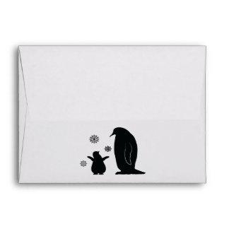 Penguin and Chick in the Snow Envelope