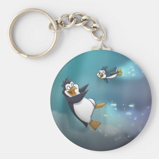 Penguin and Child Basic Round Button Keychain