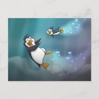 Penguin and Child Post Card