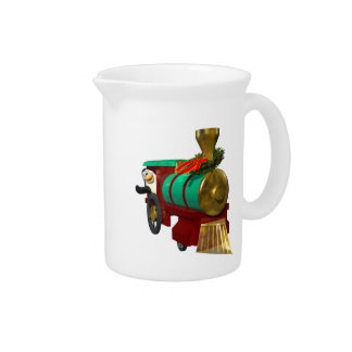 Penguin and Christmas Train Drink Pitchers