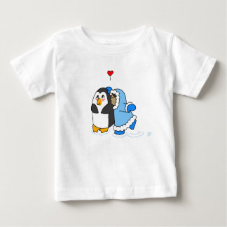 Penguin and Girl Kiss Baby T-Shirt