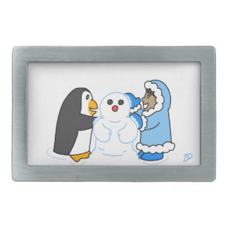 Penguin and Girl Making a Snowman Rectangular Belt Buckle