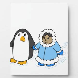 Penguin and Girl Plaque