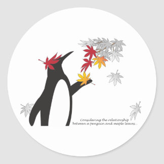 Penguin and Maple Leaves Fall Season Funny Cool Classic Round Sticker