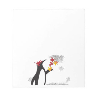 Penguin and Maple Leaves Fall Season Funny Cool Notepad