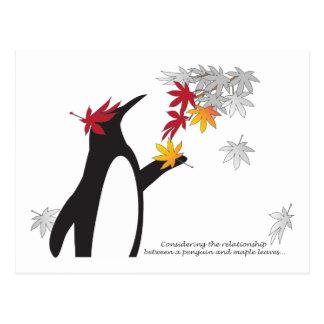 Penguin and Maple Leaves Fall Season Funny Cool Postcard