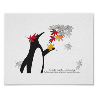 Penguin and Maple Leaves Fall Season Humor Posters