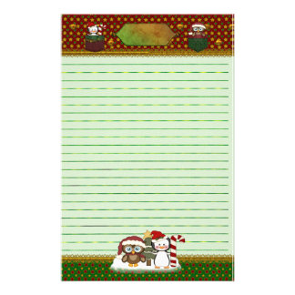 Penguin and Owl Country Christmas - Lined Stationery