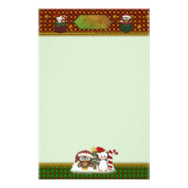 Penguin and Owl Country Christmas - Unlined Stationery